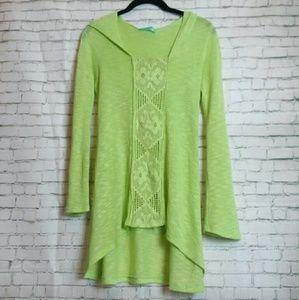 CHRIS & CAROL green hooded tunic sweater
